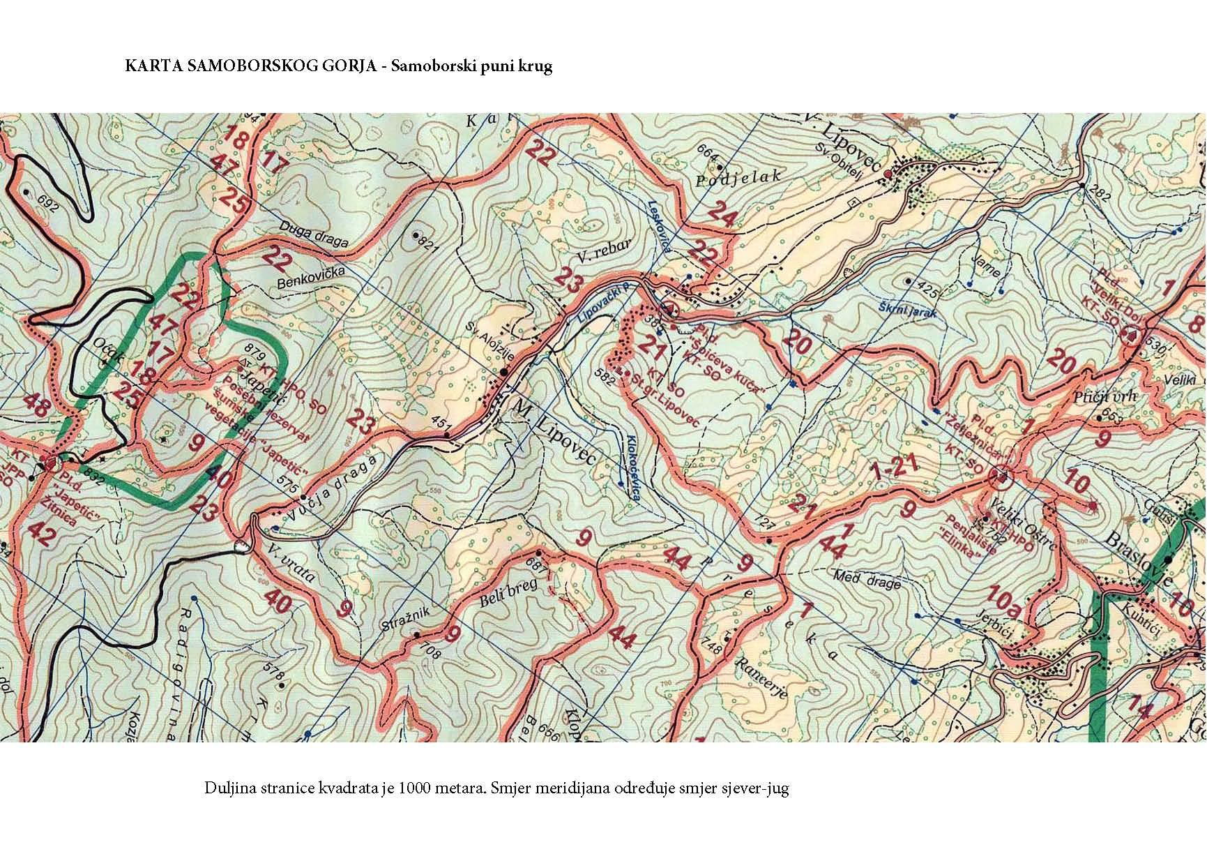 planinarska karta medvednice